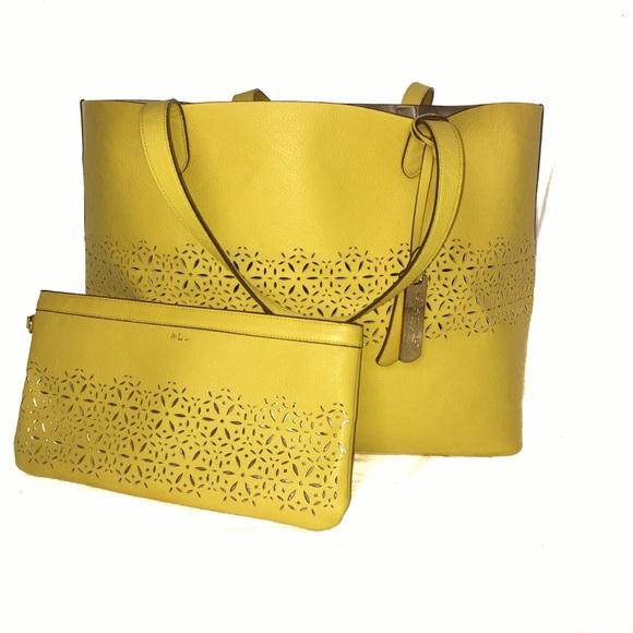 3066dd6297 Lauren Ralph Lauren Handbags - Yellow Ralph Lauren Lasercut Classic Tote  Combo